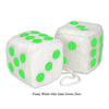 4 Inch White Fuzzy Car Dice with Lime Green Dots