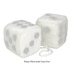 4 Inch White Fuzzy Car Dice with Grey Dots