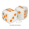 4 Inch White Fuzzy Car Dice with Orange Dots