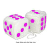 4 Inch White Fuzzy Car Dice with Hot Pink Dots