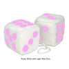 4 Inch White Fuzzy Car Dice with Light Pink Dots