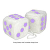 4 Inch White Fuzzy Car Dice with Lavender Purple Dots