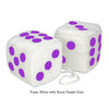 3 Inch White Fuzzy Car Dice with Royal Purple Dots