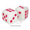 3 Inch White Fuzzy Car Dice with Red Dots