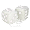 3 Inch White Fuzzy Car Dice with White Dots