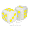 4 Inch White Fuzzy Car Dice with Yellow Dots