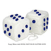 3 Inch White Fuzzy Car Dice with ROYAL NAVY BLUE GLITTER DOTS