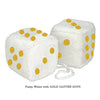 3 Inch White Fuzzy Car Dice with GOLD GLITTER DOTS