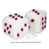 3 Inch White Fuzzy Car Dice with HOT PINK GLITTER DOTS