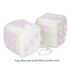 4 Inch White Fuzzy Car Dice with LIGHT PINK GLITTER DOTS