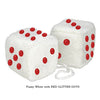 3 Inch White Fuzzy Car Dice with RED GLITTER DOTS
