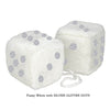 3 Inch White Fuzzy Car Dice with SILVER GLITTER DOTS