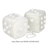 3 Inch White Fuzzy Car Dice with WHITE GLITTER DOTS