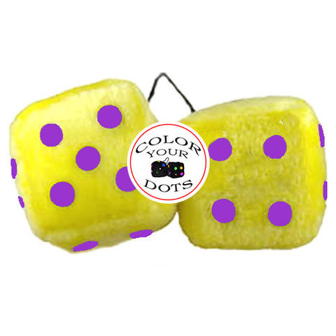 3 Inch Yellow Fuzzy Dice
