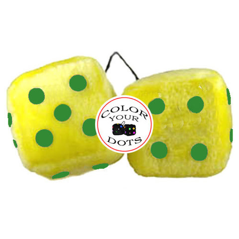 4 Inch Yellow Fuzzy Dice