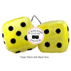 4 Inch Yellow Fuzzy Dice with Black Dots