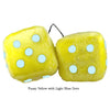 4 Inch Yellow Fuzzy Dice with Light Blue Dots