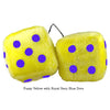 4 Inch Yellow Fuzzy Dice with Royal Navy Blue Dots