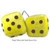 4 Inch Yellow Fuzzy Dice with Dark Brown Dots