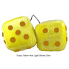 3 Inch Yellow Fuzzy Dice with Light Brown Dots