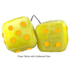 3 Inch Yellow Fuzzy Dice with Goldenrod Dots