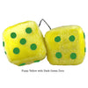 3 Inch Yellow Fuzzy Dice with Black Dark Green Dots