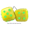 3 Inch Yellow Fuzzy Dice with Lime Green Dots