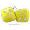 4 Inch Yellow Fuzzy Dice with Grey Dots