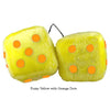 4 Inch Yellow Fuzzy Dice with Orange Dots
