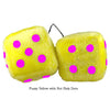 3 Inch Yellow Fuzzy Dice with Hot Pink Dots