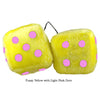3 Inch Yellow Fuzzy Dice with Light Pink Dots