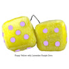 3 Inch Yellow Fuzzy Dice with Purple Lavender Dots