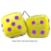 4 Inch Yellow Fuzzy Dice with Royal Purple Dots