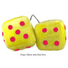 4 Inch Yellow Fuzzy Dice with Red Dots