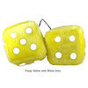 4 Inch Yellow Fuzzy Dice with White Dots
