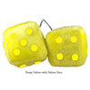 4 Inch Yellow Fuzzy Dice with Yellow Dots