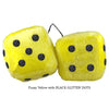 3 Inch Yellow Fuzzy Dice with BLACK GLITTER DOTS