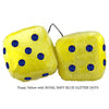 4 Inch Yellow Fluffy Dice with ROYAL NAVY BLUE GLITTER DOTS
