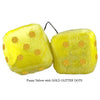 3 Inch Yellow Fuzzy Dice with GOLD GLITTER DOTS