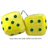 3 Inch Yellow Fuzzy Dice with DARK GREEN GLITTER DOTS