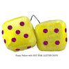 4 Inch Yellow Fluffy Dice with HOT PINK GLITTER DOTS