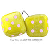 3 Inch Yellow Fuzzy Dice with LIGHT PINK GLITTER DOTS