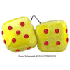 4 Inch Yellow Fluffy Dice with RED GLITTER DOTS