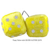 3 Inch Yellow Fuzzy Dice with SILVER GLITTER DOTS