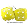 4 Inch Yellow Fluffy Dice with WHITE GLITTER DOTS