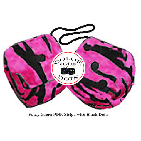 4 Inch Zebra Pink Fuzzy Dice with Black Dots