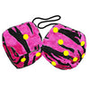 4 Inch Zebra Pink Fuzzy Dice with Yellow Dots