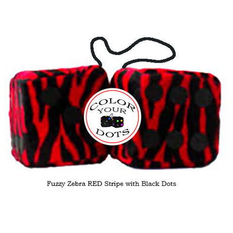 4 Inch Zebra Red Fluffy Dice with Black Dots