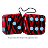 3 Inch Zebra Red Furry Dice with Light Blue Dots