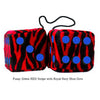 3 Inch Zebra Red Furry Dice with Royal Navy Blue Dots